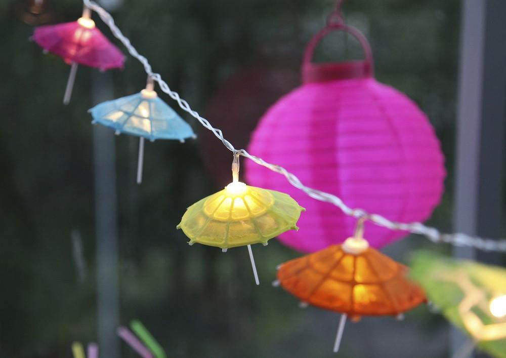 sommer umbrella led lichterkette garten party sonnenschirm cocktailschirmchen ebay. Black Bedroom Furniture Sets. Home Design Ideas