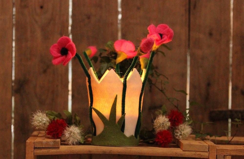 Filzblumen windlicht mit glas filz blumentopf for Blumentopf glas