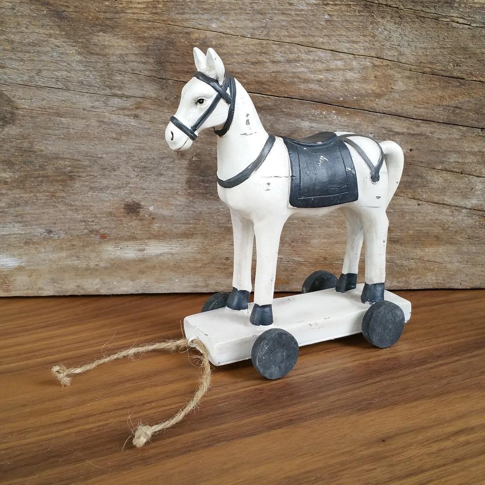 spielzeug pferd vintage 14 5cm deko pferdchen cremefarben zum hinterherziehen deko sch nes f r. Black Bedroom Furniture Sets. Home Design Ideas