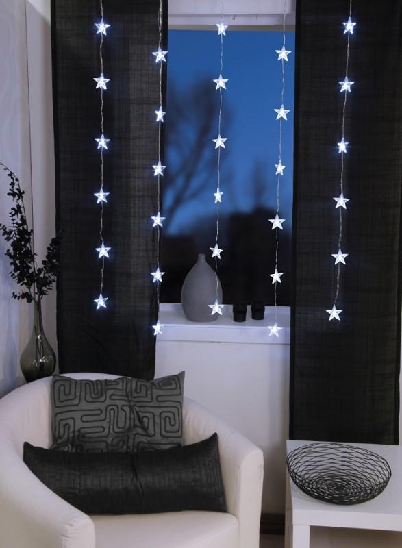 led lichtervorhang sternenvorhang vorhang mit stern 30tlg 90cm x 120cm deko sch nes f r zuhause. Black Bedroom Furniture Sets. Home Design Ideas